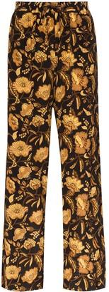Matteau Floral-Print Silk Trousers