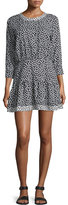 Current/Elliott The Tennant Cutout Printed Dress, Black Coffee Bean