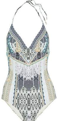 Camilla Weave On Crystal-embellished Printed Halterneck Swimsuit