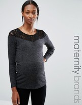 Mama Licious Mama.licious Mamalicious Maternity Top With Lace Trim