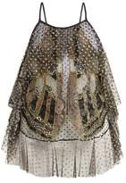 Romance Was Born Exoskeleton Glitter-embellished Tulle Top - Womens - Black