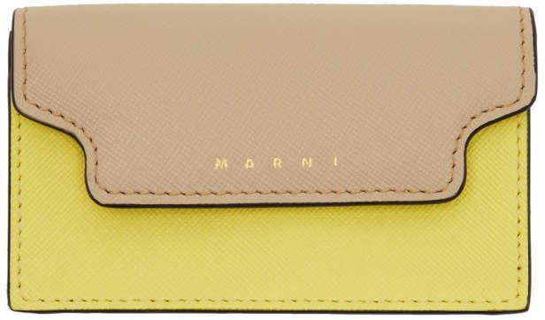 Marni (マルニ) - Marni ベージュ & イエロー エンベロープ カード ホルダー