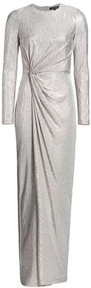 St. John Knotted Lame Wrap Gown