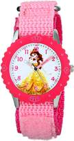 Disney Kids' W001579 Belle Stainless Steel and Pink Nylon Strap, Analog Display, Pink Watch