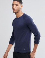 Pull&Bear Crew Neck Sweater In Navy Blue