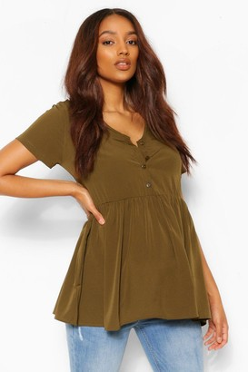 boohoo Maternity Button Front Woven Smock Top