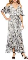 Melrose Short Sleeve Cold Shoulder Floral Maxi Dress
