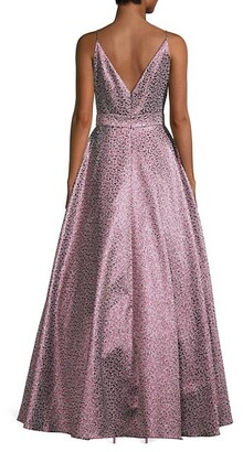 ML Monique Lhuillier Metallic Floral Ball Gown