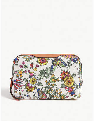 Tory Burch Floral print leather vanity case