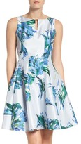 Gabby Skye Women's Floral Shantung Fit & Flare Dress