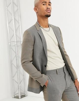 Asos Design DESIGN skinny suit jacket in contrast micro check-Beige