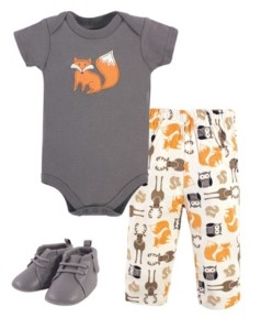 Hudson Baby Boys and Girls Cotton Bodysuit, Pant and Shoe Set