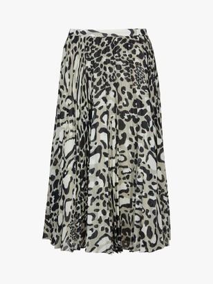 Jaeger Jaegar Pleated Animal Print Skirt, Black/White