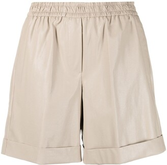 Nude High-Rise Loose Fit Shorts