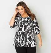 Avenue Abstract Zipper Neck Top
