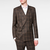 Paul Smith Men's Brown Windowpane Check Double-Breasted Wool Blazer