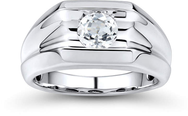 JCPenney FINE JEWELRY Mens Lab-Created White Sapphire Sterling Silver Ring