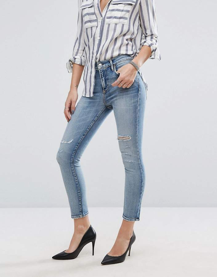 A Gold E A-Gold-E AGOLDE Sophie Crop Jean with Rips