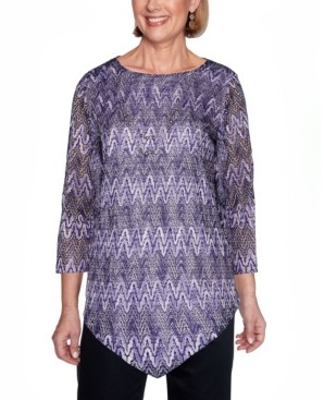 Alfred Dunner Women's Plus Size Wisteria Lane Zigzag Textured Top