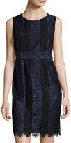 Max Studio Two-Tone Lace Sheath Dress, Navy/Black
