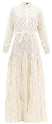 Gucci Gg Broderie Anglaise Cotton-blend Maxi Dress - Womens - White Gold