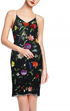 Aidan Mattox Floral Embroidered Mini Dress