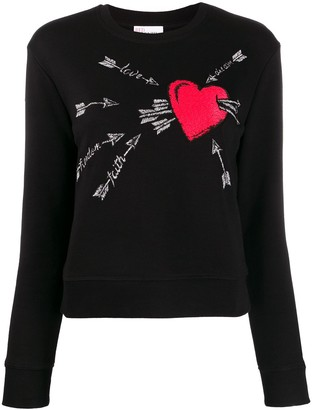 RED Valentino RED(V) embroidered love heart sweater