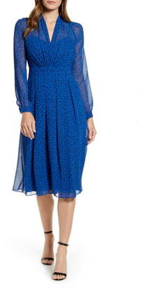 Anne Klein Stellar Dot Long Sleeve A-Line Dress