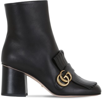 Gucci 75mm Marmont Fringed Leather Boots