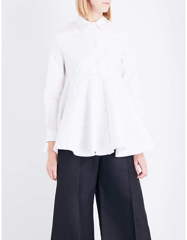 Co Flared-hem cotton-poplin shirt