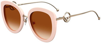 Fendi Round Acetate & Metal Sunglasses