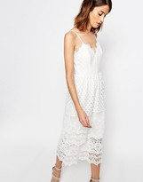 Warehouse Premium Lace Tiered Cami Dress