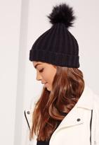 Missguided Faux Fur Pom Pom Beanie Hat Black