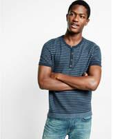 Express Cotton Striped Short Sleeve Henley Sweater