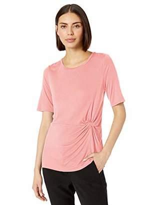 Lark & Ro 1-by1 Raylon Span Knotted Short Sleeve Shirt,XS