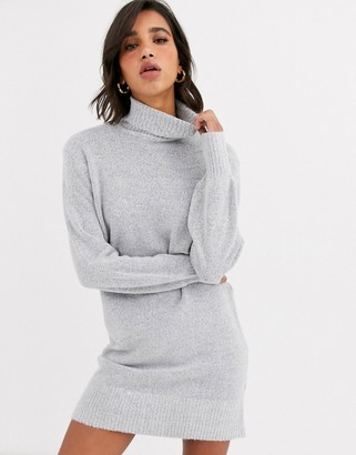 Vila roll neck dress with wide cuff-Grey