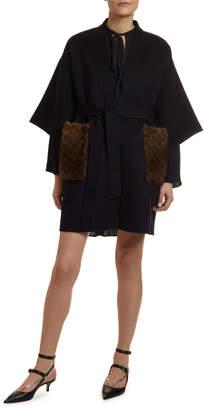 Valentino Fur-Pocket Kimono-Sleeve Double-Felt Coat