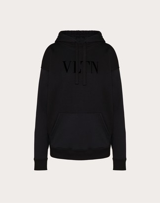 Valentino Vltn Embellished Jersey Sweatshirt Women Black Cotton 94% L