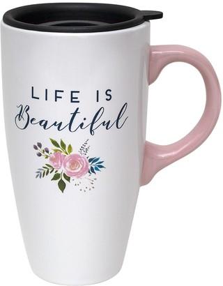 Enchante Life is Beautiful Lidded Travel Mug