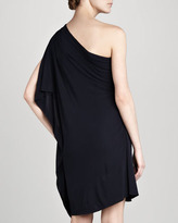 Badgley Mischka One-Shoulder Cocktail Dress, Navy
