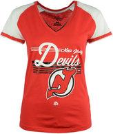 Majestic Women's Short-Sleeve New Jersey Devils Raglan V-Neck Shirt