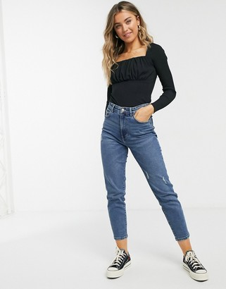 New Look ruched detail square neck top in black