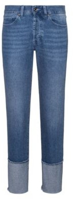 HUGO BOSS Cropped Regular Fit Jeans With Open Frayed Hems - Turquoise