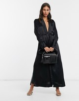 Weekday long line satin kimono in black