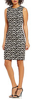 Calvin Klein Printed Jacquard Sheath Sleeveless Dress