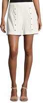 Haute Hippie Pleated Snap Shorts, White