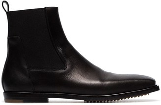 Rick Owens black square toe leather ankle boots