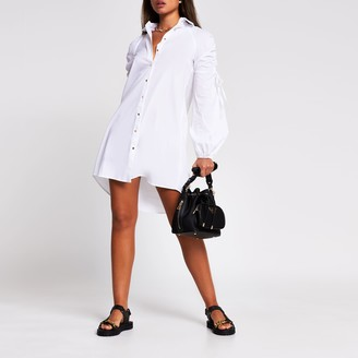 River Island Womens White long ruched sleeve mini shirt dress