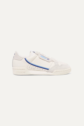 adidas Continental 80 Grosgrain-trimmed Textured-leather And Suede Sneakers - Off-white