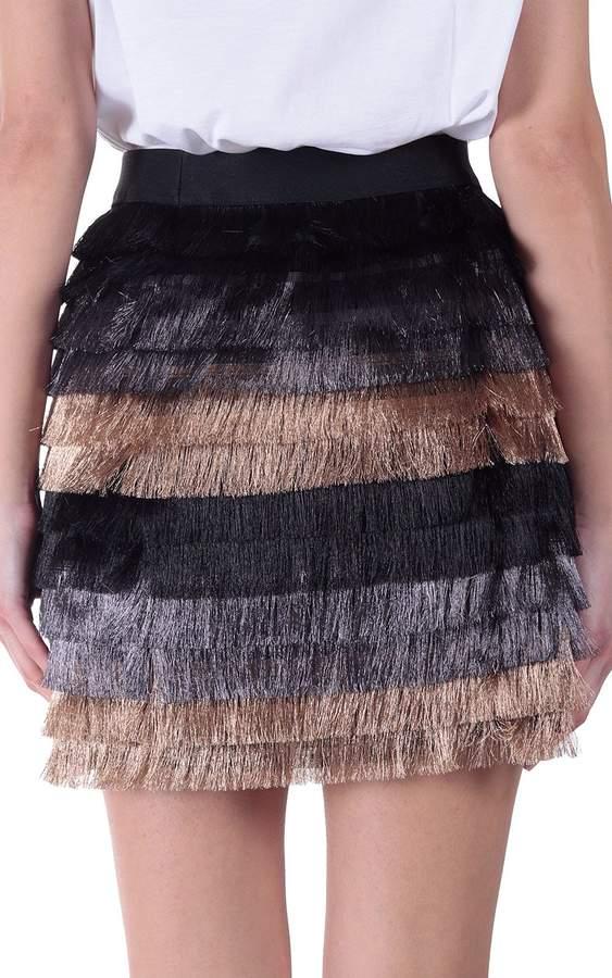 BCBGMAXAZRIA Christal Metallic-fringe Mini Skirt